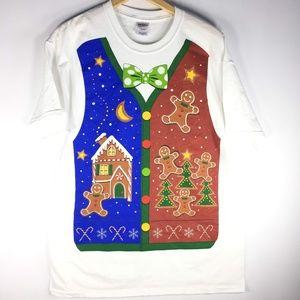 Ugly Christmas Sweater Tshirt Gingerbread Man L
